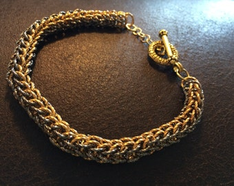 Chain Maille Bracelet , gold and gunmetal twist rings