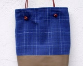 Olive Green Leather and Blue Checked Wool Tote with Leather Handles