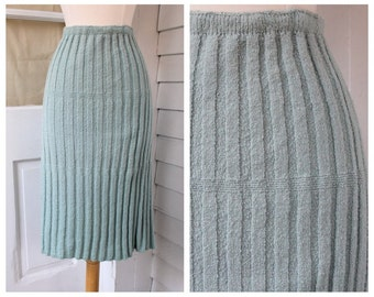 Knit Sweater Skirt  - Sky Blue Pencil Skirt - Vintage 1950s 50s