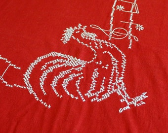 Embroidered Rooster Tablecloth - Red and White Small Cross Stitch Table Cloth - Vintage 1950s 50s