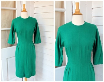 Green Wool Wiggle Dress -  Mid Century Day Dress  - Vintage 1960s 60s