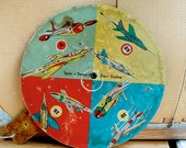 Vintage Toy Dart Board Game Spin n Snap from Atomic Age 1950s Jet Planes by Transogram.