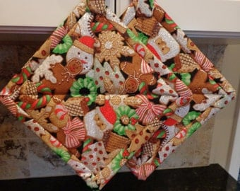 Christmas Gingerbread Men with Silver and White Glitter Quilted Potholders or Hotpads Set