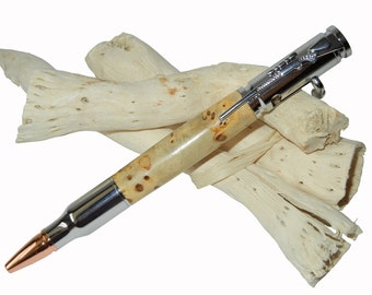 New 30 Caliber Bolt Action Gun Metal Bullet Cartridge Pen Wooden Elm Burl Father's Day Gift by CraftCrazy4U on Etsy