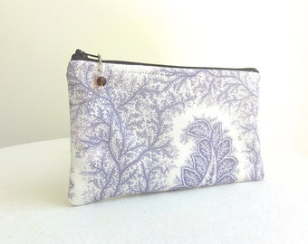 Pale Purple and White Zippered Bag with Beaded Zipper Pull - READY TO SHIP