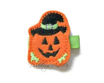 Jack O Lantern Hair Clip, Happy Pumpkin Hair Clip, Girl Pumpkin Hair Clip, Halloween Hair Clip, Orange Pumpkin Hair Clip, Witch Pumpkin