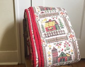 vintage quilt folk sampler house farm