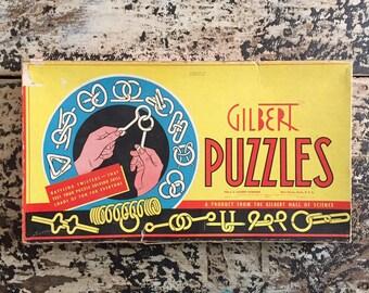 vintage gilbert puzzles metal brain teasers