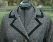 1950's Black and White Houndstooth Coat Vintage WinterCoat
