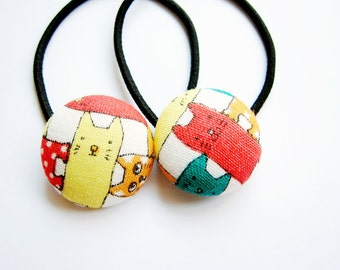 Button Ponytail Holders - Yellow and Red Cat
