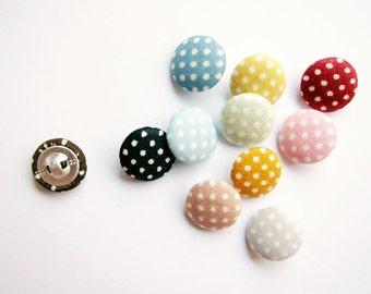 Sewing Buttons / Fabric Buttons - 10 Small Fabric Covered Buttons - Pin Dots - Fabric Pressed Buttons