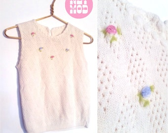 Pretty and Dainty Vintage Soft White Sweater Vest with Pink & Blue Flowers Around Neck