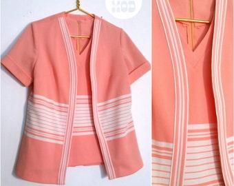 Cute Vintage 60s Peach and White Striped Shirt Set