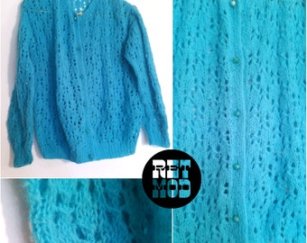 Comfy Lightweight Vivid Teal Blue Vintage Crocheted Sweater Cardigan