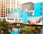 Chicago Train Photography | Skyline Art | Whimsical Wall Art Print | color photography | Moose Wall Decor | teal blue, beige, charcoal, gold