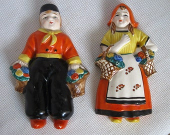 Dutch Girl and Boy Ceramic Wall Decor - Yamaka - Occupied Japan