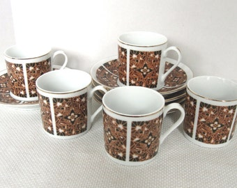 Set of Five (5) Brown and Black Demitasse Cups and Saucers