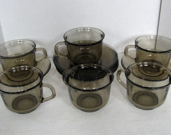 Set of Six (6) Arcoroc France Smoky Brown Glass Demitasse Cups and Saucers