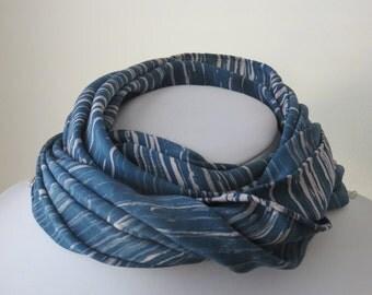 Japanese Silk Kimono Scarf in Blue and Cream