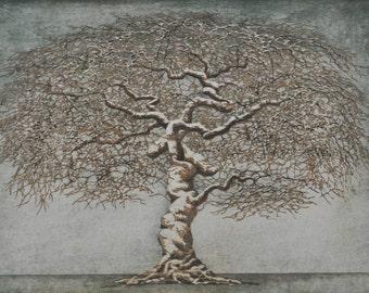 Original Hand Pulled Woodblock Print - Tree No. 33, Moku Hanga Fine Art Print OOAK Artist Proof