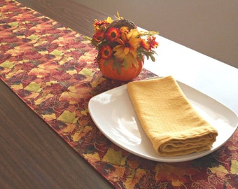 Fall Leaves Table Runner Reversible Autumn Thanksgiving Red Gold Mustard Green Orange Brown