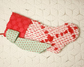 Festive Red and White Vintage Chenille Heirloom Christmas Stocking with Holly Bow