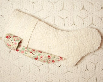Beautiful Winter White or Cream Plush Vintage Chenille Heirloom Christmas Stocking with Poinsettia Bow