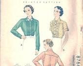 Vintage 30s Blouse Pattern 1930s 34 bust size 16 c. 1936 Top Shirt McCalls 8766 McCall Ladies Misses