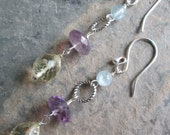 Sun Power ~ Citrine, Amethyst, Aquamarine earrings - Uplifting gemstones, Chakra jewelry