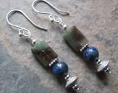 Inner Truth ~ Lapis Lazuli & Fancy Jasper earrings -  Zen style jewelry