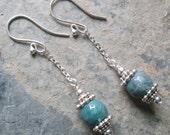 Tranquility ~ Fancy Jasper earrings on silver chain ~ Zen style jewelry