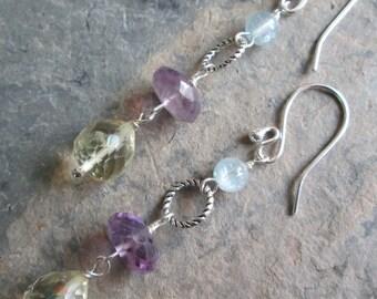 Citrine, Amethyst & Aquamarine Earrings -  Chakra jewelry