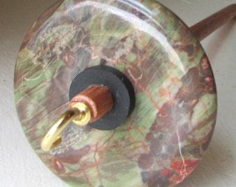 Blossom Agate Stone Drop Spindle Oak Shaft .99 ounces 28 grams