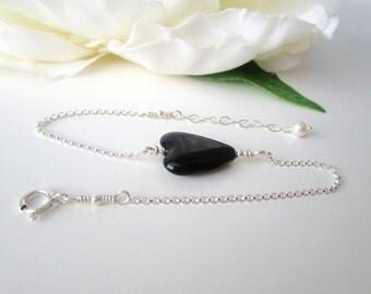 Black Heart Bracelet, Heart Bracelet Sterling Silver, Delicate Bracelet, Black Glass Heart Bracelet, Layered Heart Bracelet, Gift For Her