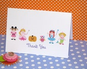 Halloween Thank You Cards or Dress Up Party Thank You Cards for GIRLS