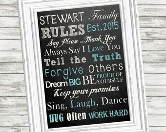 "SALE!!!!!  FAMILY RULES Print - Personalized Family Rules Sign - 8 x 10"" or 11 x 14"" or 16 x 20"" - Printable - Customized - Newlywed Gift"