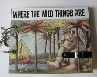 SALE..OOAK UnIqUe Handmade Scrapbook- Where the Wild Things Are - UPCYCLED