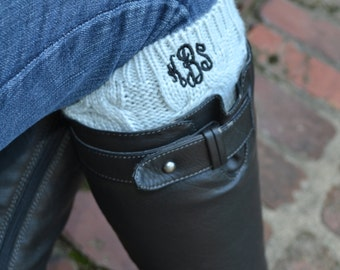 Monogrammed Boot Cuffs - Heather Gray, Oat or Black