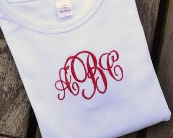 Girls Monogrammed T-Shirt - Classic Monogrammed Tee