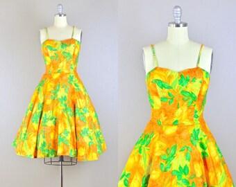 vintage 1950s Dress • Cabana Dress • LaceUp Dress • 50s Party Dress • Hawaiian Dress • XS S