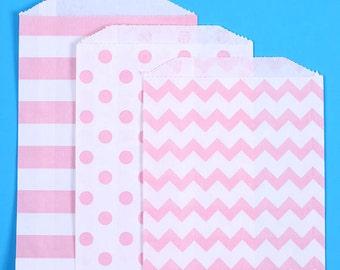 Light Pink Favor Bags, Chevron, Polka Dot & Striped Favor Bags, Treat Bags, Paper Bags, Sweet Bags, Candy Buffet Bags, Gift Bags (12)
