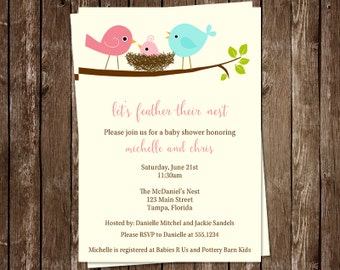 Baby Shower Invitations, Birds, Nest, Girls, Co Ed, Family, Modern, Chic, Pink, 10 Printed Invites, FREE Shipping, Feather Their Nest, Tweet