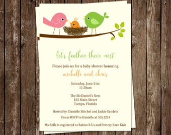 Baby Shower Invitations, Bird, Gender Neutral, Chic, Green, 10 Printed Invites, FREE Shipping, Co Ed, Family, Feather Their Nest Unisex