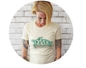 Ladies Sea Turtle TSHIRT, Graphic Tee Shirt, Ocean Animal, Swimming Turtle, Womens T SHIRT, Cotton Crewneck Short Sleeved Hand Screenprinted