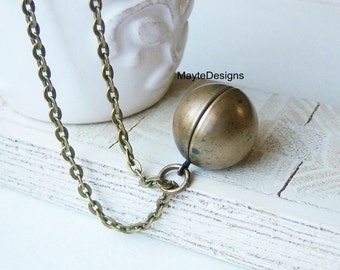 Vintage ball locket pendant necklace/Bronze sphere globe necklace