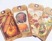 Thanksgiving Tags - Set Of 12 - Vintage Look -  Holiday Tags -Turkey Tags  - Harvest Tags - Corn Tag - Thanksgiving Dinner - Autumn Tags