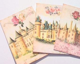 Fairytale Castles - Gift Tags - Set of 9 - Fantasy Castles - Princess Tag - Romantic Castles - Roses Tags - Thank Yous - Castle Tags