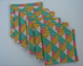 Fabric Coasters in Green Gold Tangerine Geometric Design, Set of Six,