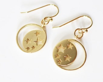 Moon Earrings Gold - Love you to the moon and back - Moon Star Earrings Lightweight Simple Dainty Earrings Feminine Jewelry Gift to Her