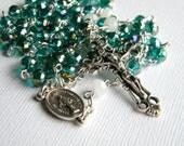 Handmade Catholic Rosary, Teal Rosary, Linked Rosary, Rosary Necklace, Prayer Beads